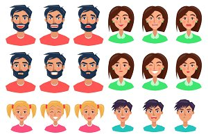 People Expressing Emotions Set of Icons on White