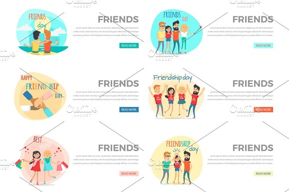 Set Of Friends Conceptual Vector Web Banners