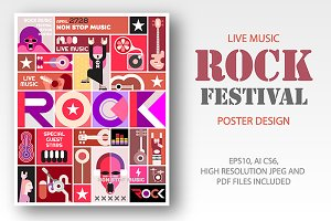 Rock Festival poster template design