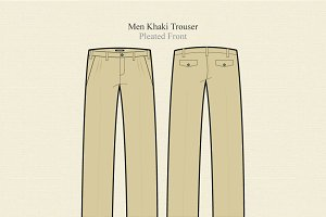 Men Khaki Trouser Vector Template