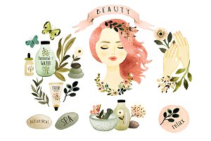 Botanical Spa clipart set