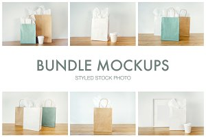 Mockups bags, cups and frames