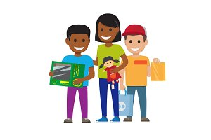 Cartoon Set of Smiling Family, Who Goes Shopping