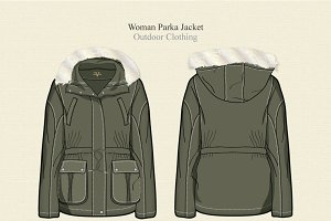 Women Parka Jacket Vector Template