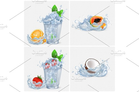 Cold Beverages With Fruits And Lot Of Ice Set