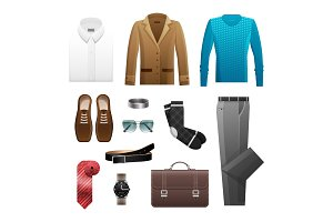 Men's Outfits Set for Everyday Life on White