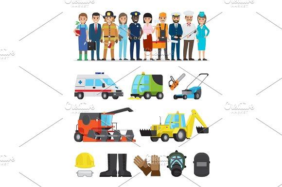 Profession Representatives And Equipments Set