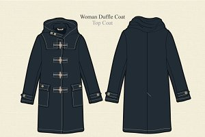 Women Duffle Coat Vector Template