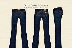 Women Bootleg Denim Jeans Vector Tem