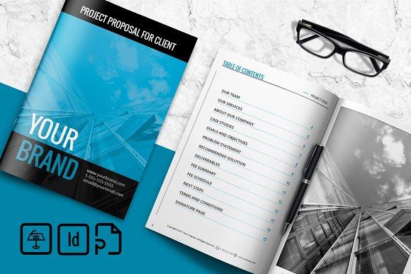 Simple Project Proposal Brochure Templates Creative Market – Simple Project Proposal