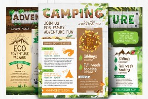 Adventure, camping, nature flyers