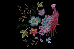 Peacock embroidery and flowers