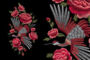 Crane and roses embroidery