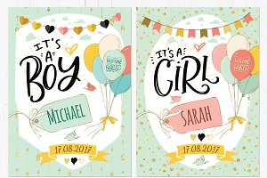 Birth announcement - boy and girl
