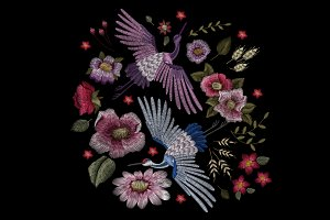 Cranes and flowers embroidery