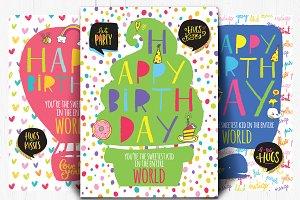 Kids birthday card - set of 3
