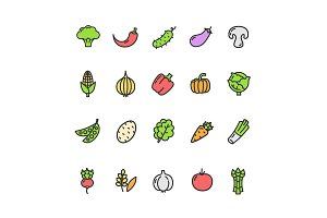 Vegetables Food Icon Set. Vector