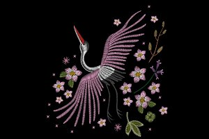 Embroidery of a crane