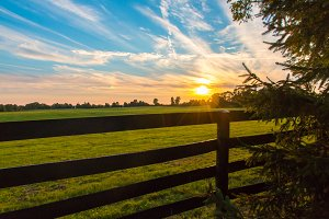 Sunset on countryside