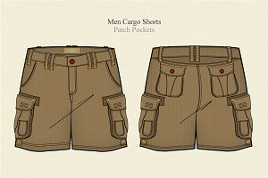 Men Cargo Shorts Vector Template