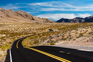 Road in the desert of Nevada, USA.