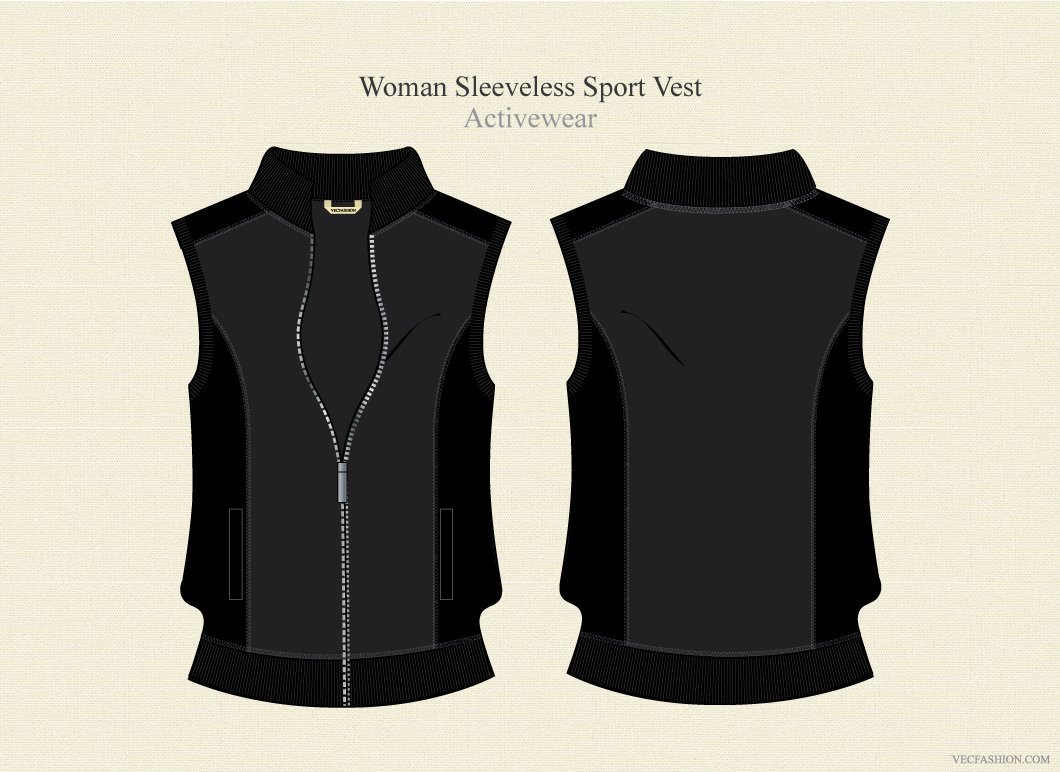Woman sleeveless sport jacket illustrations creative market pronofoot35fo Images