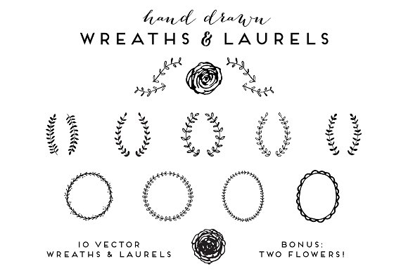 Hand Drawn Wreaths And Laurels