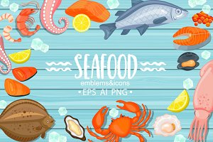 Seafood emblems and icons.