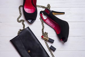 Shoes and woman clutch