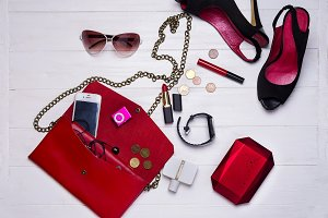 red set of women's accessories