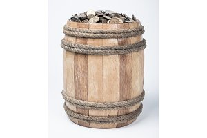 Wooden barrel with coins