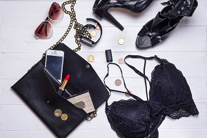 set of women's accessories