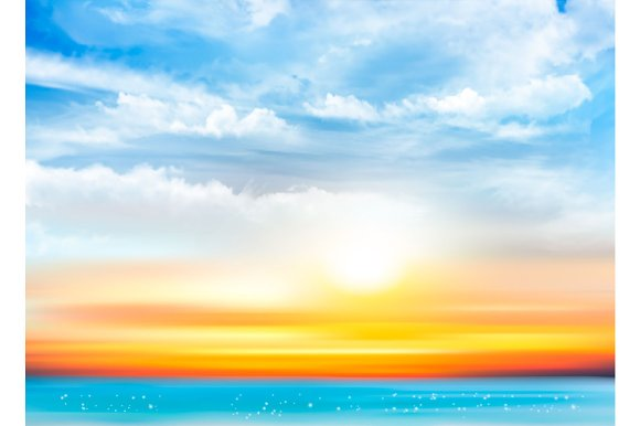 Sunset Sky Background Vector