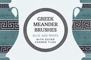 Blue and white greek meander brushes