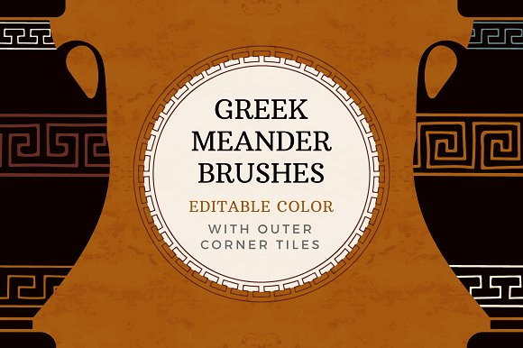 Editable Greek Meander Brushes