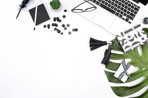 Black & White Modern Desk Mockup 11