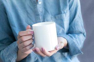 Coffee Mug Mockup + Chambray