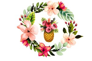 Tropical florals set