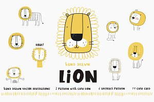 Lion character cartoon illustration