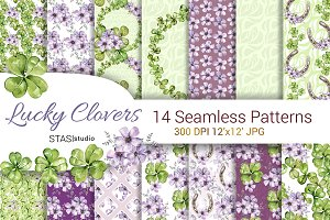 Four Leaf Watercolor Clover Patterns