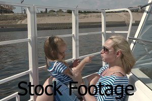 Mother and daughter boat trip