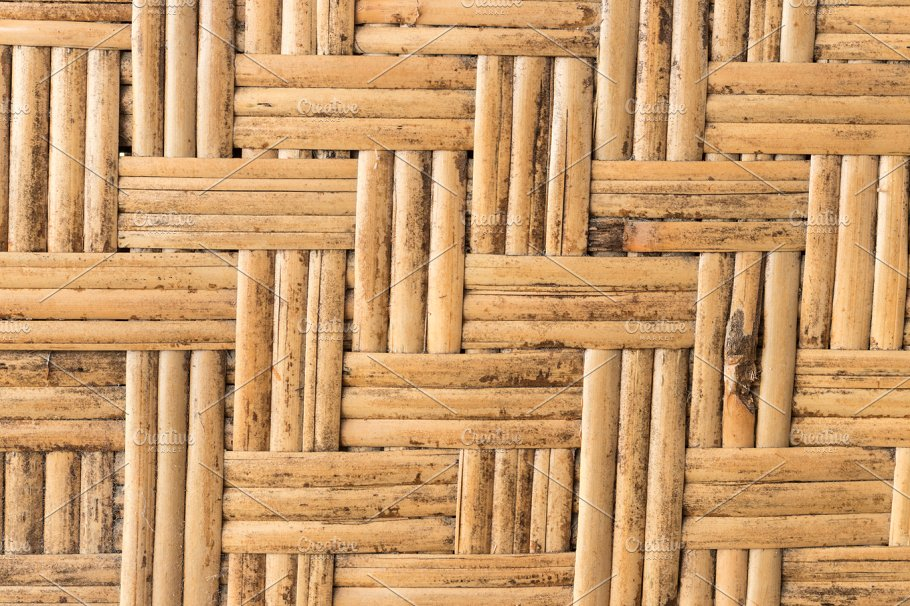 Close Up Texture Rattan Pattern Yellow Color From Bamboo For
