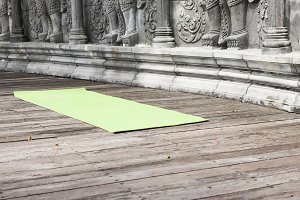 Yoga mat in abandoned temple