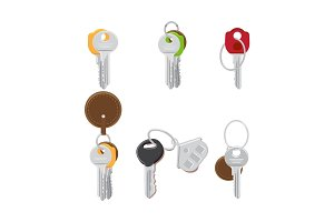 Set of Modern Door Keys on Keyring Flat Vectors