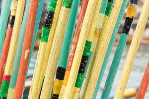 Colorful Fishing rods close-up. Colorful background. Tropical island Bali, Indonesia.