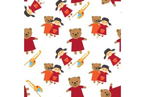 Doll, Bear and Toy Helicopter Seamless Pattern