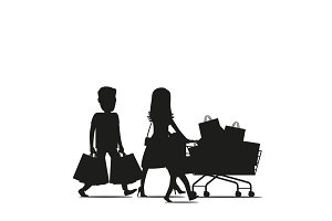 Family Making Purchases Silhouette Vector