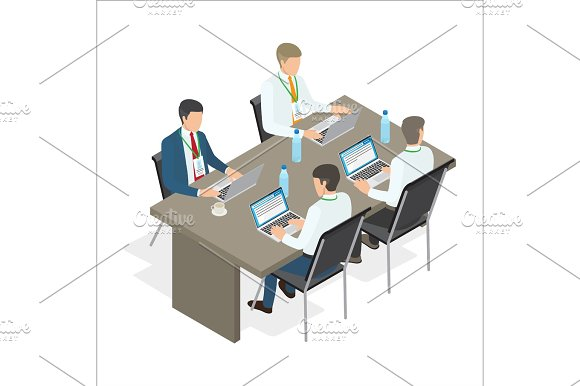 Office Employees Work At Laptops Illustration