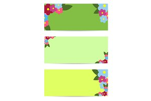 Three Posters with Colorful Flowers and Green Leaf