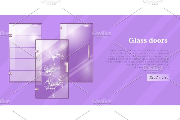 Glass Doors Conceptual Flat Vector Web Banner